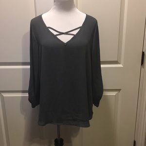 1X Tempted Gray Blouse